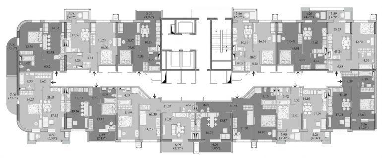 ЖК Таировские Сады Секция 6 Планировка 9-11 этажа