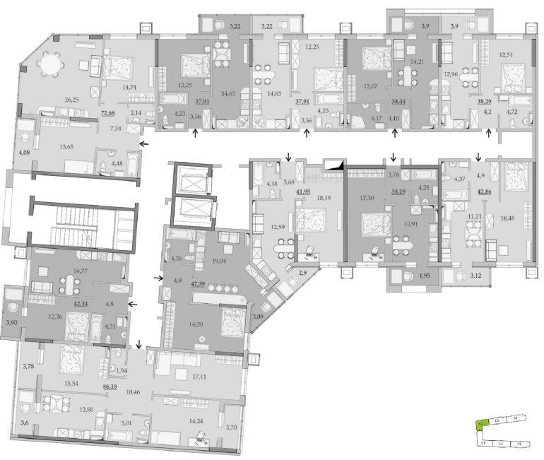 ЖК Таировские Сады Секция 4 Планировка 12-16 этажа
