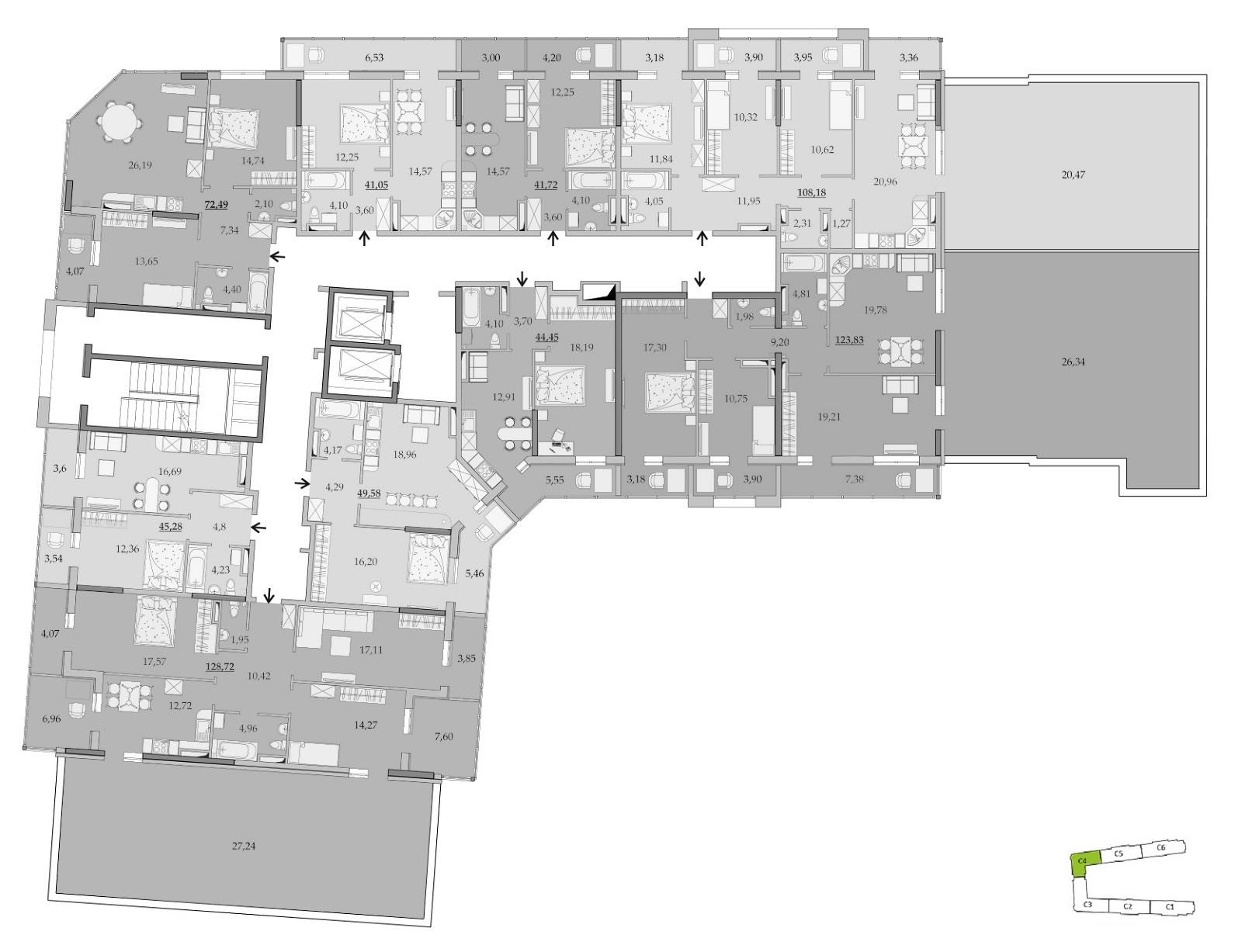 ЖК Таировские Сады Секция 4 Планировка 17 этажа