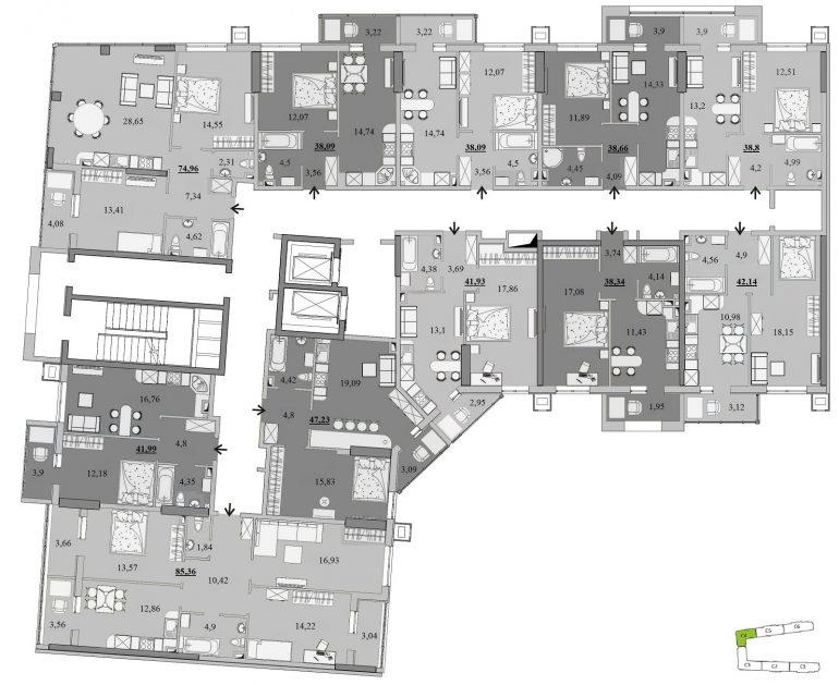 ЖК Таировские Сады Секция 4 Планировка 2-4 этажа