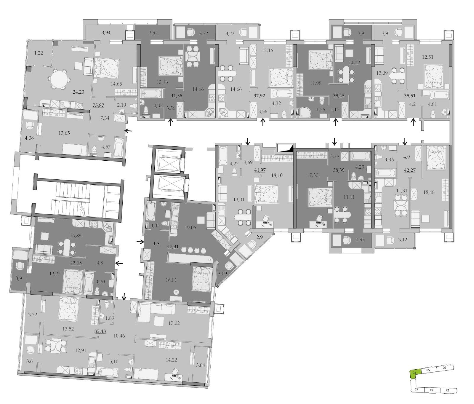 ЖК Таировские Сады Секция 4 Планировка 5-6 этажа