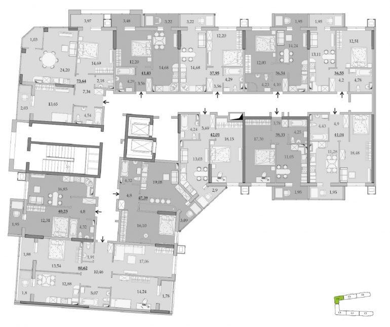 ЖК Таировские Сады Секция 4 Планировка 7-8 этажа