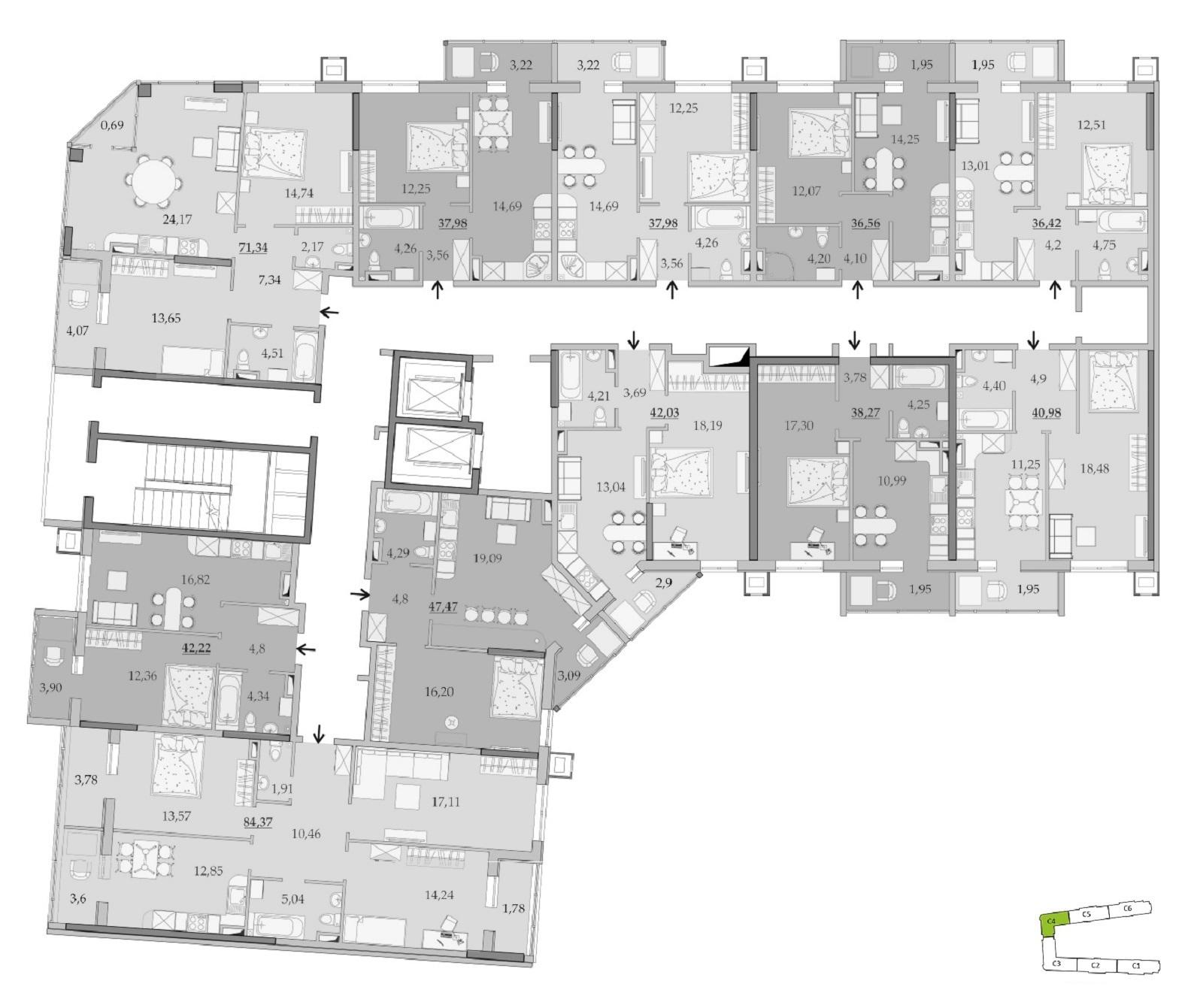 ЖК Таировские Сады Секция 4 Планировка 9-11 этажа