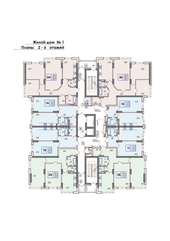 ЖК Sun City Планировка 2-6 этажа