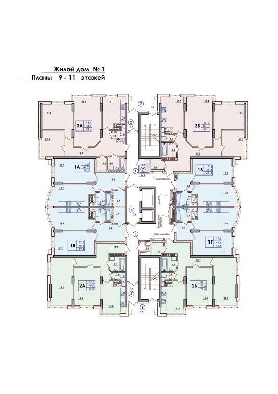 ЖК Sun City Планировка 9-11 этажа