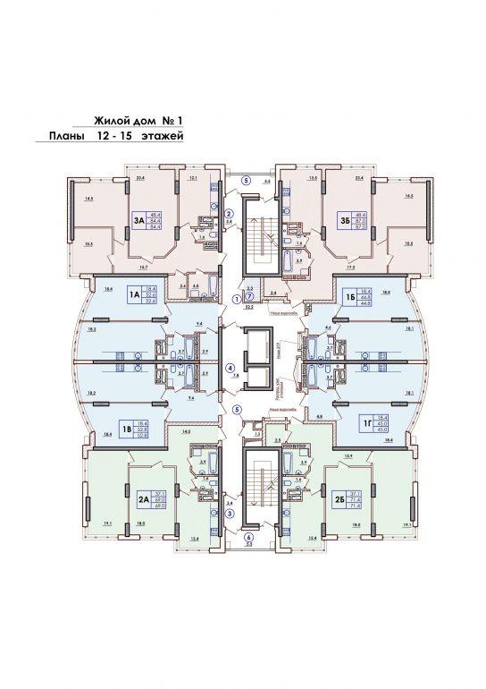 ЖК Sun City Планировка 12-15 этажа