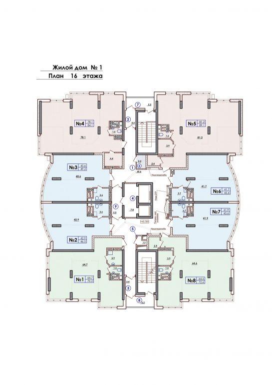 ЖК Sun City Планировка 16 этажа