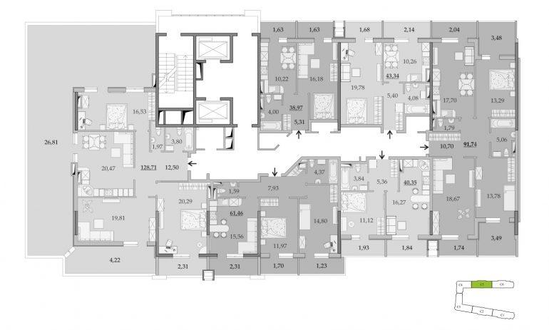 ЖК Таировские Сады Секция 5 Планировка 16 этажа