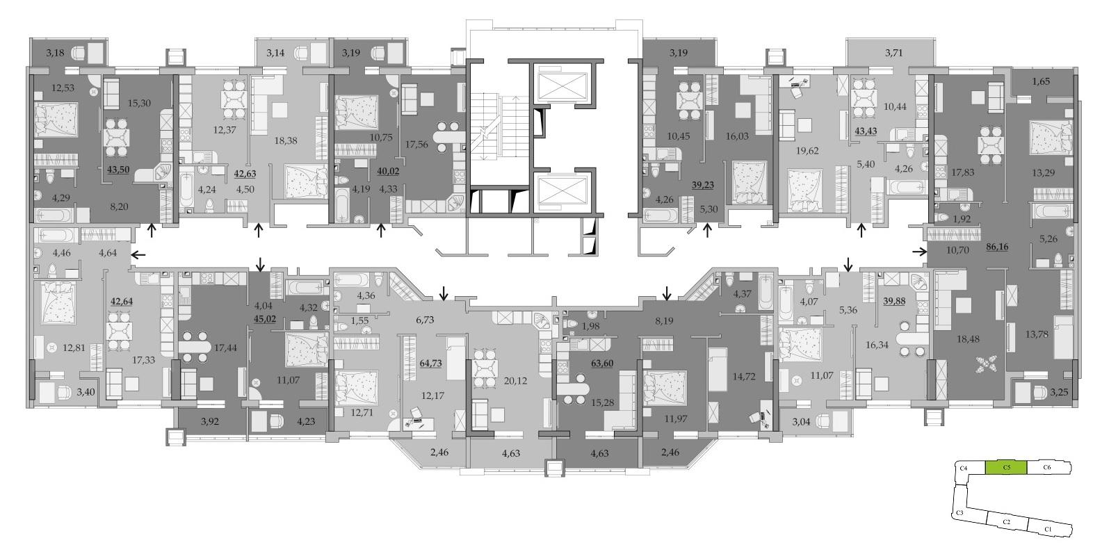 ЖК Таировские Сады Секция 5 Планировка 2-14 этажа