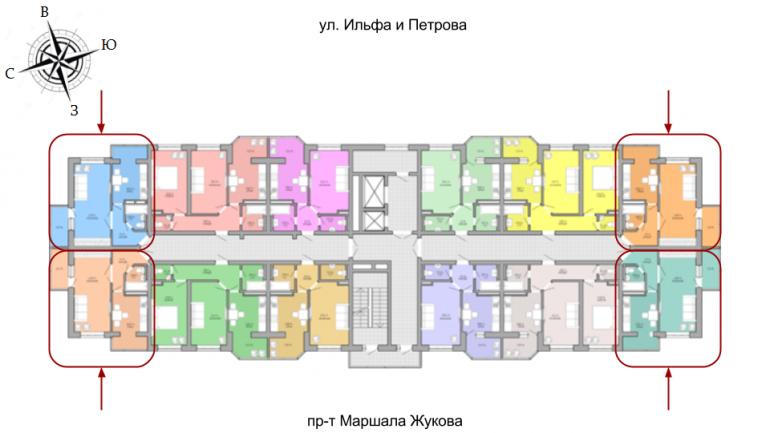 ЖК Акварель Однокомнатная Площадь 38,34 кв.м Расположение на этаже