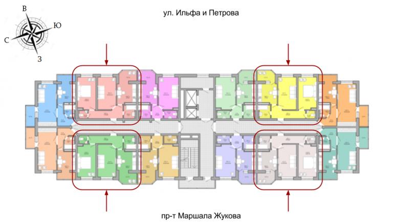 ЖК Акварель Двухкомнатная Площадь 50,24 кв.м Расположение на этаже