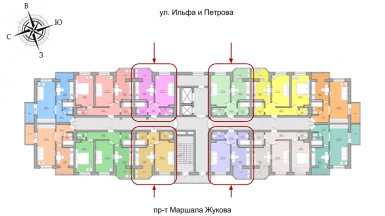 36,4 кв.м ЖК Акварель Однокомнатная Площадь Расположение на этаже