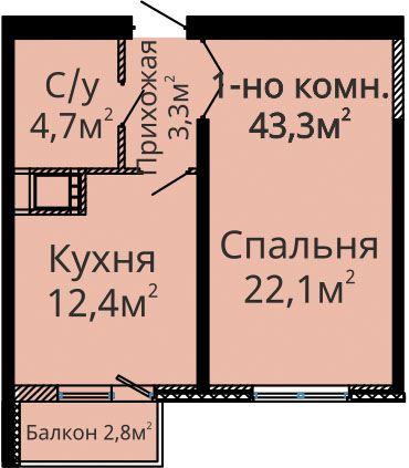 ЖК Альтаир 2 секция Однокомнатная 42,7 Планировка
