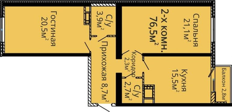 ЖК Альтаир-2 Секция 4 Двухкомнатная Площадь 75,5 кв.м Планировка