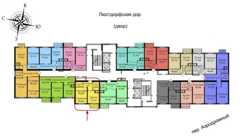 ЖК Альтаир-2 2 секция Однокомнатная Площадь 42,4 кв.м Расположение на этаже