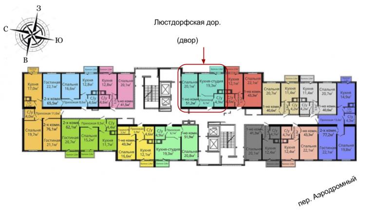 ЖК Альтаир Однокомнтная 50,7 Расположение на этаже