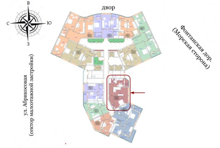 ЖК Аквамарин Секция 2б Двухкомнатная 62,3 кв.м Расположение на этаже