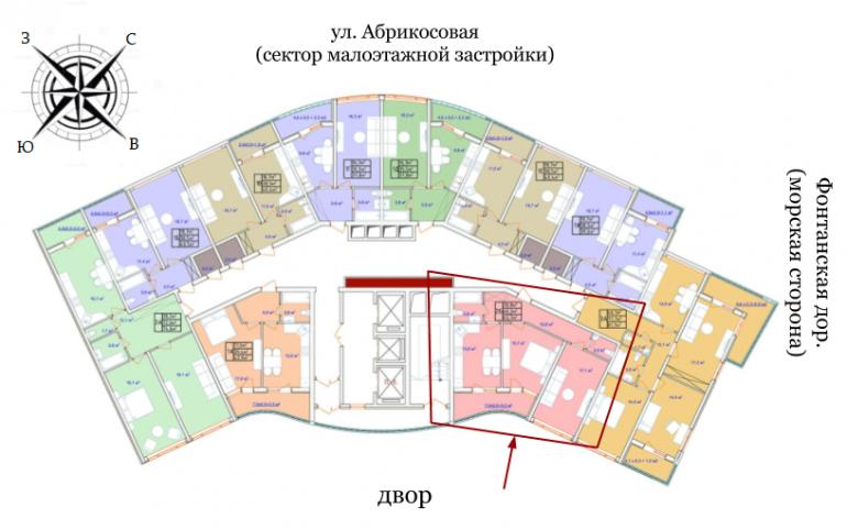 ЖК Аквамарин Секция 2а Двухкомнатная 63,7 кв.м Расположение на этаже