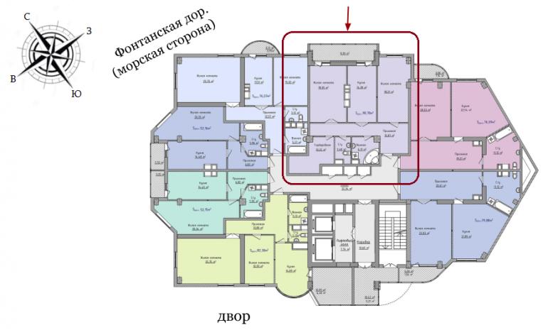 ЖК Аквамарин Секция 3В Двухкомнатная 98,78 кв.м Расположение на этаже