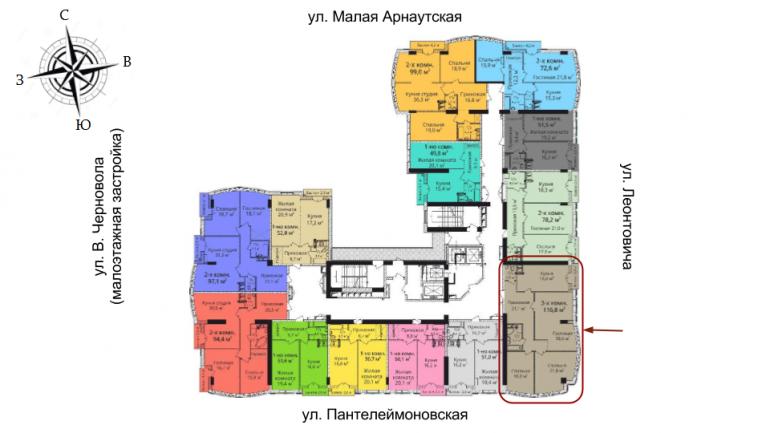 ЖК Бельэтаж Трехкомнатная Площадь 112,9 кв.м Расположение на этаже
