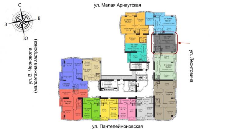 ЖК Бельэтаж Однокомнатная Площадь 53,3 кв.м Расположение на этаже