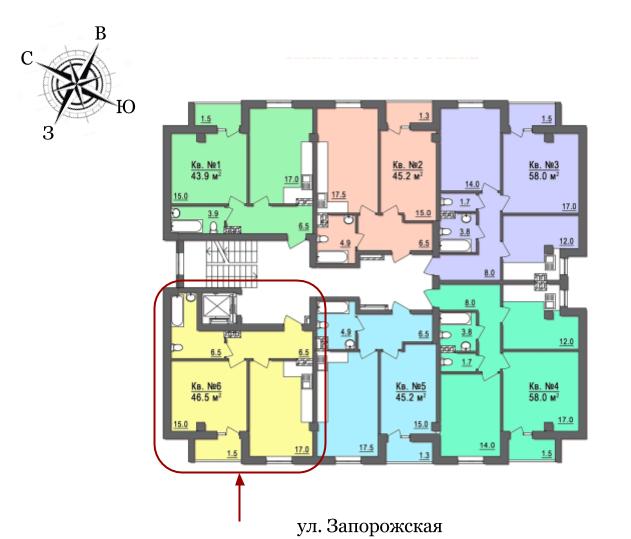 Дом на Запорожской Однокомнатная №6 45 кв.м Расположение на этаже