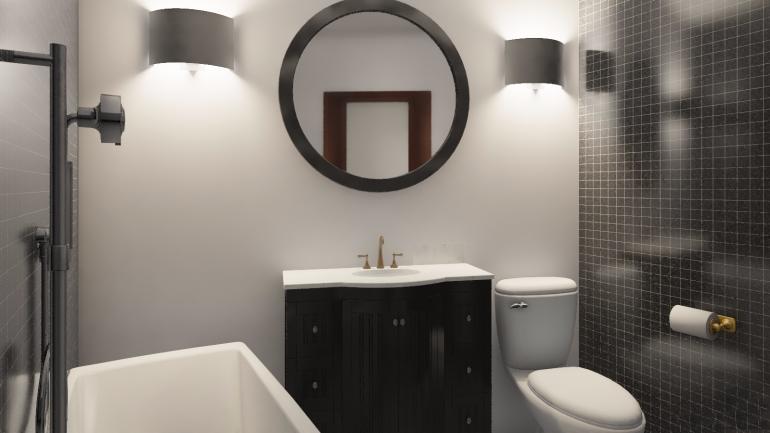 47,77 кв.м ЖК Кандинский Однокомнатная Дизайн ванной комнаты