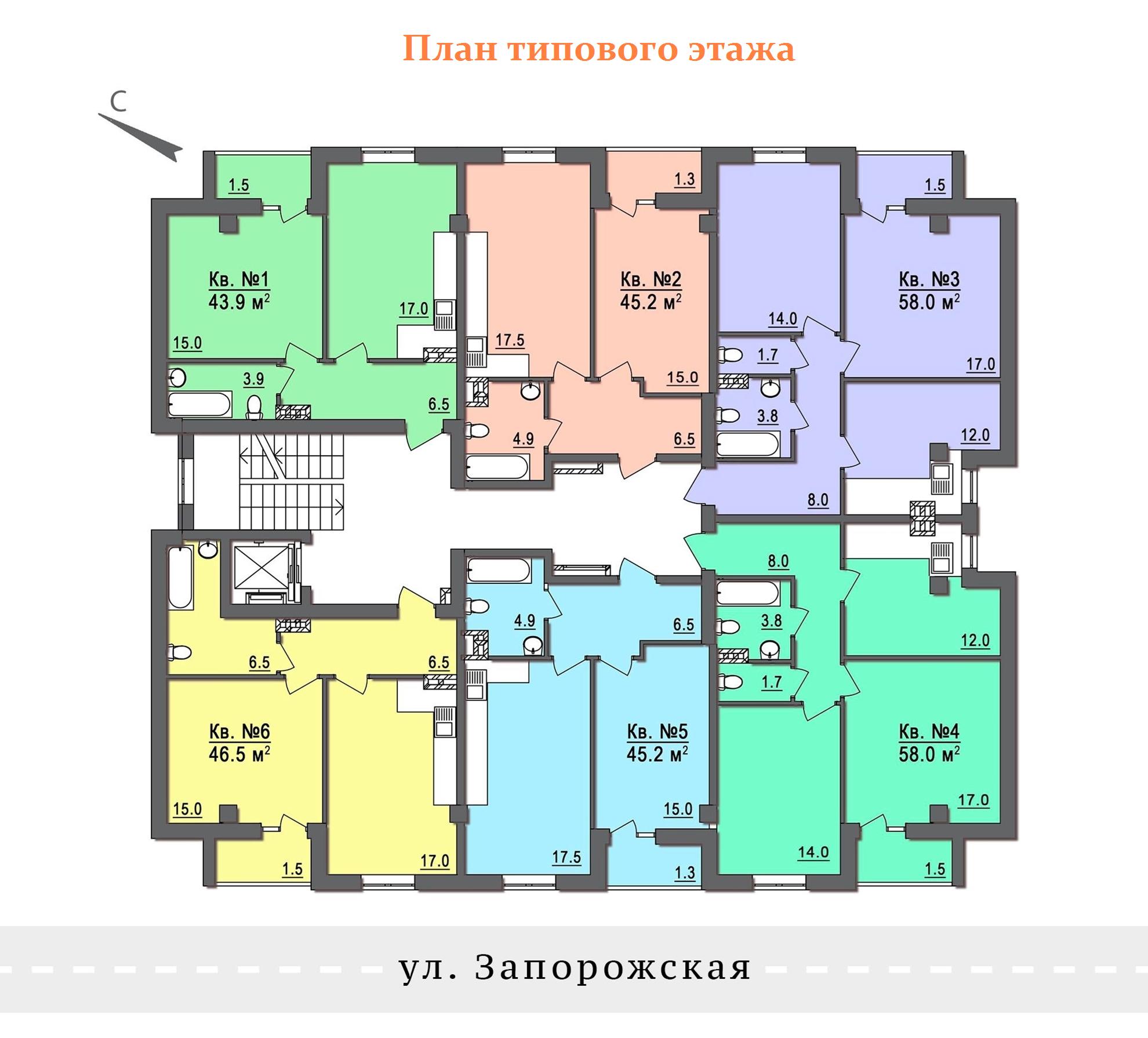 ЖК Дом на Запорожской План типового этажа (2-8 этажи)