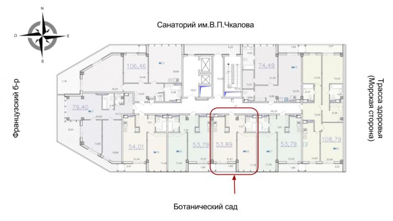 ЖК Гринвуд 1 секция Однокомнатная Площадь 53,83 кв.м Расположение на этаже