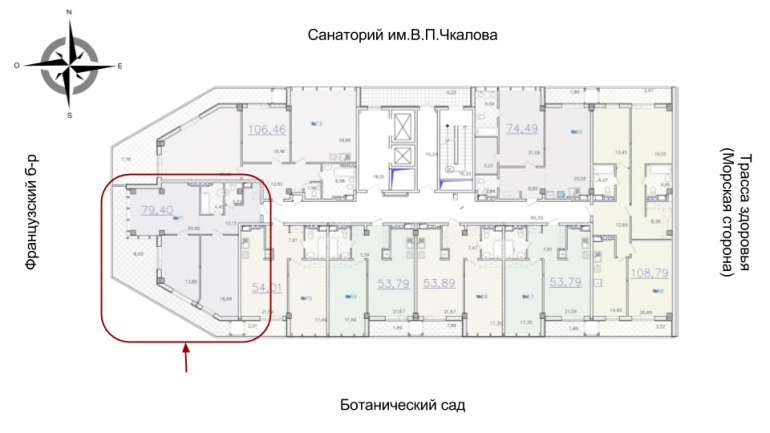 ЖК Гринвуд 1 секция Двухкомнатная Площадь 89,4 кв.м Расположение на этаже