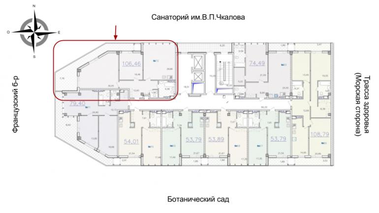 ЖК Гринвуд 1 секция Двухкомнатная Площадь 112,85 кв.м Расположение на этаже