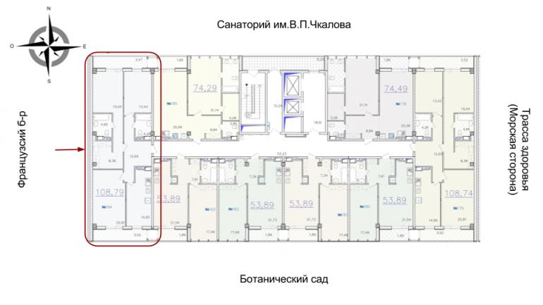 ЖК Гринвуд 2 секция Трехкомнатная Площадь 108,6 кв.м Расположение на этаже