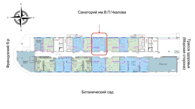 ЖК Гринвуд Однокомнатная Площадь 40,8 кв.м Расположение на этаже