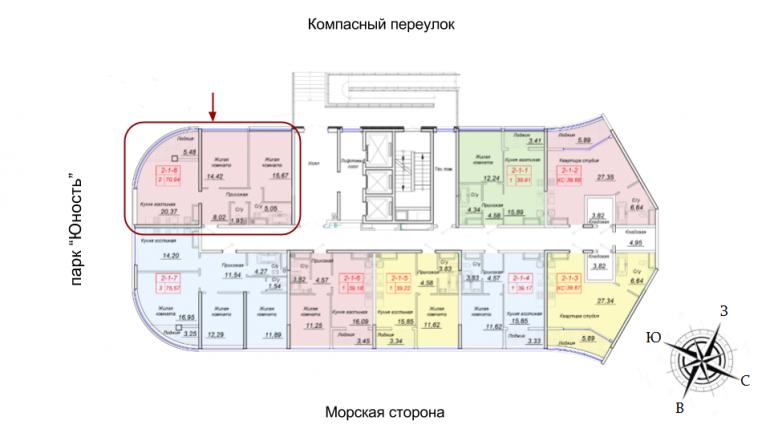 ЖК 44 Жемчужина 1 этаж Двухкомнатная 70,94 Расположение на этаже