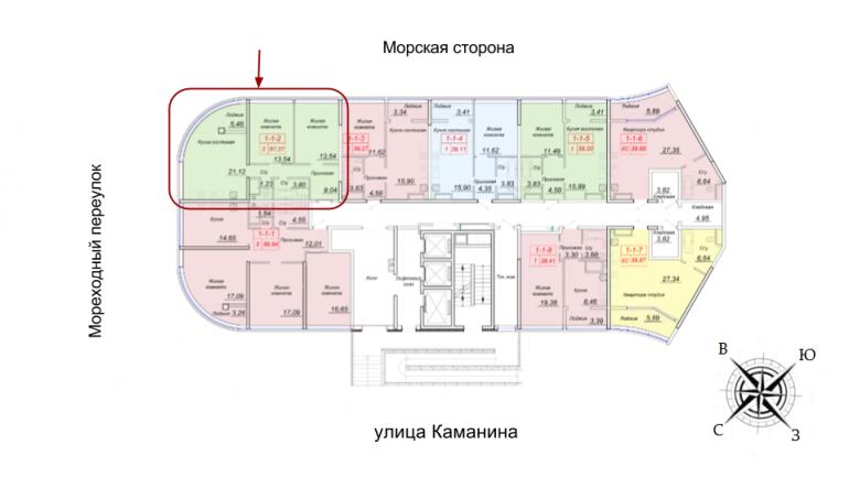 ЖК 44 Жемчужина Двухкомнатная 70,03 кв.м Расположение на этаже