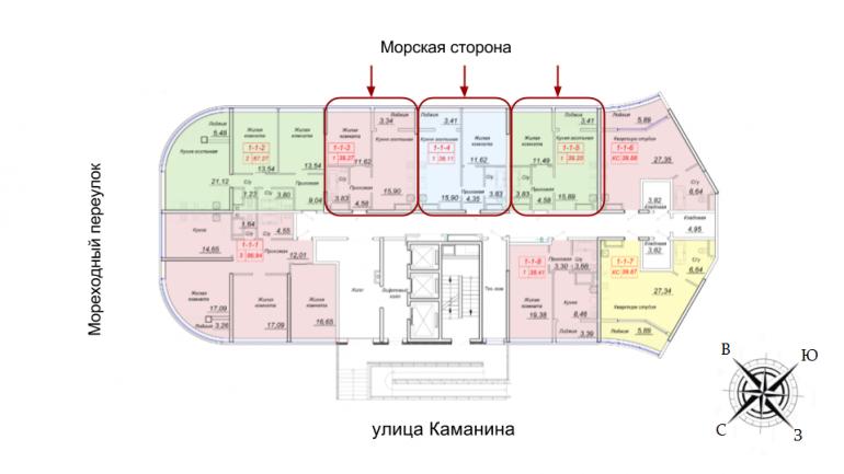 ЖК 44 Жемчужина Однокомнатная Площадь 39,87 кв.м Расположение на этаже