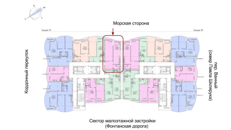 ЖК Корфу Однокомнатная Площадь 64,71 кв.м Расположение на этаже
