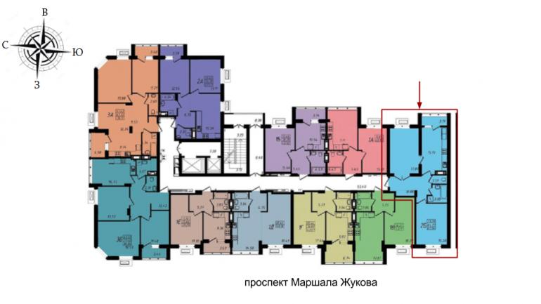 ЖК Маршал Сити 3 секция Двухкомнатная Площадь 68,09 кв.м Расположение на этаже