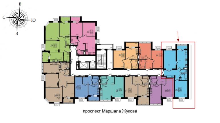 68,4 кв.м ЖК Маршал Сити 1 секция Двухкомнатная Площадь Расположение на этаже