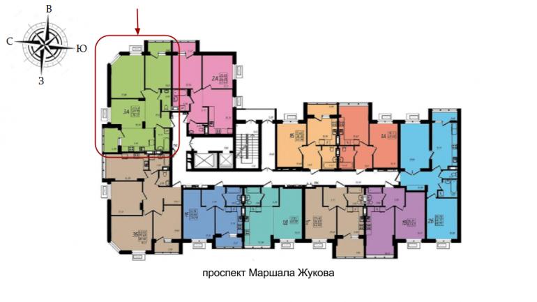 ЖК Маршал Сити 1 секция Трехкомнатная Площадь 76,07 кв.м Расположение на этаже