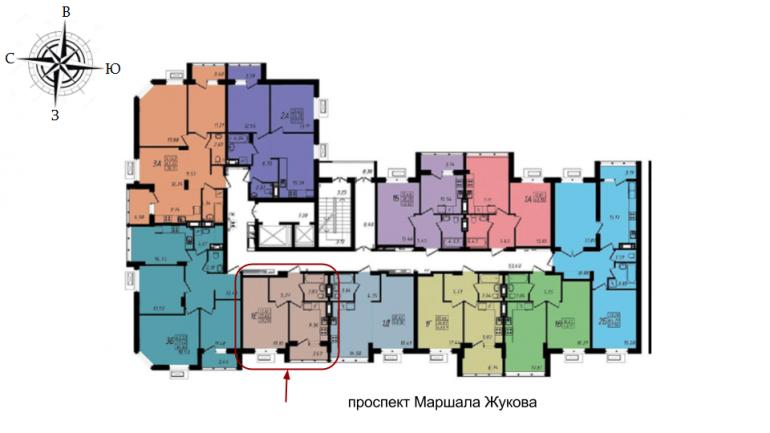 39,29 кв.м ЖК Маршал Сити 3 секция Однокомнатная Площадь Расположение на этаже