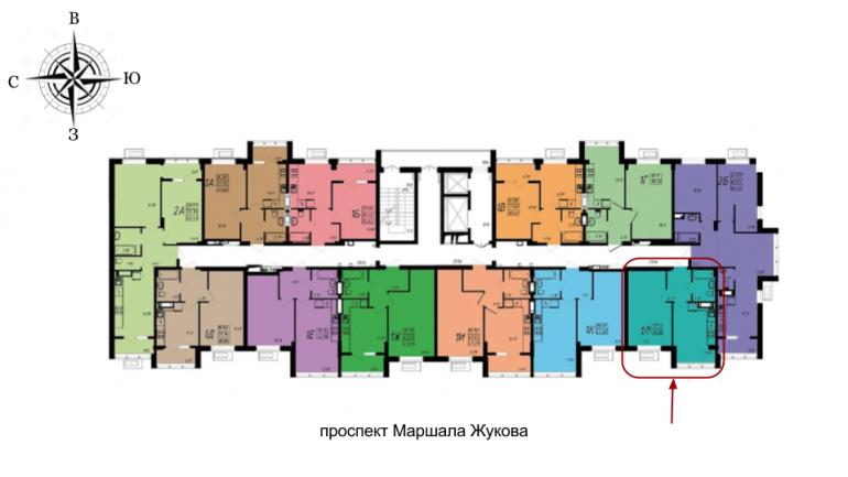 ЖК Маршал Сити Однокомнатная 39,09 кв.м Расположение на этаже