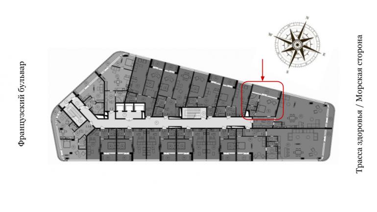 ЖК Кандинский Однокомнатная Площадь 46,9 кв.м Расположение на этаже