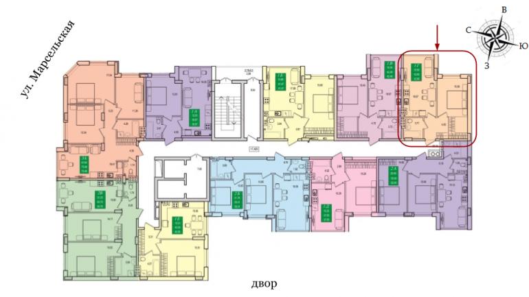 42,39 кв.м ЖК Приморские сады Однокомнатная Расположение на этаже