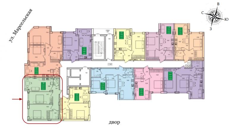 64,9 ЖК Приморские сады Двухкомнатная кв.м Расположение на этаже