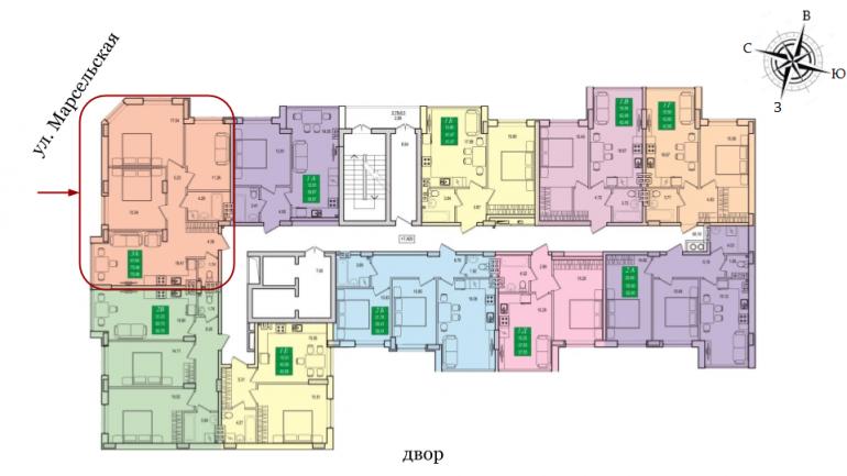 ЖК Приморские сады Трехкомнатная 75,3 кв.м Расположение на этаже