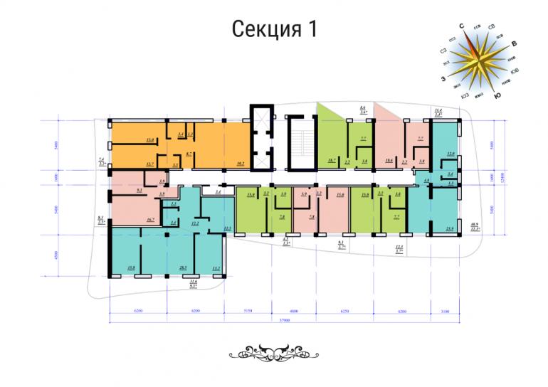 ЖК Сады Семирамиды СК Фамильный дом Секция 1 План типового этажа