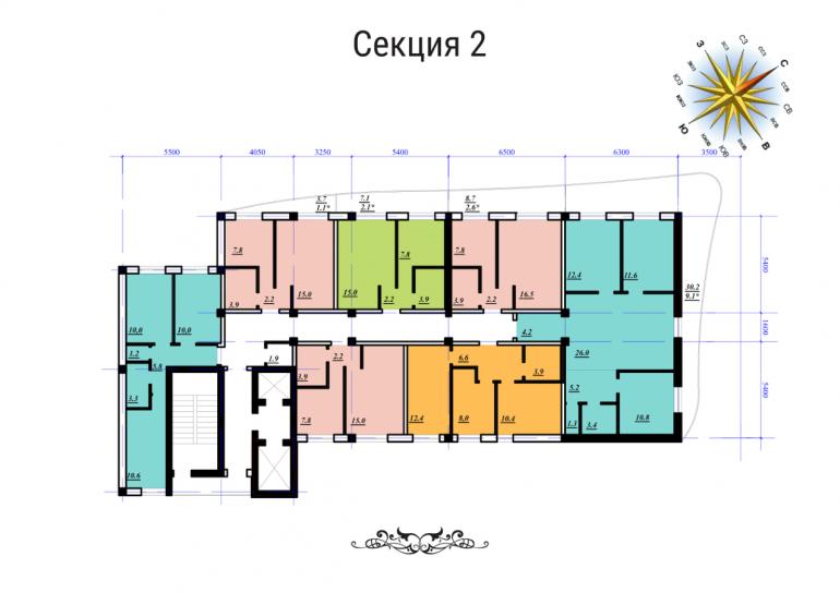 ЖК Сады Семирамиды СК Фамильный дом Секция 2 План типового этажа