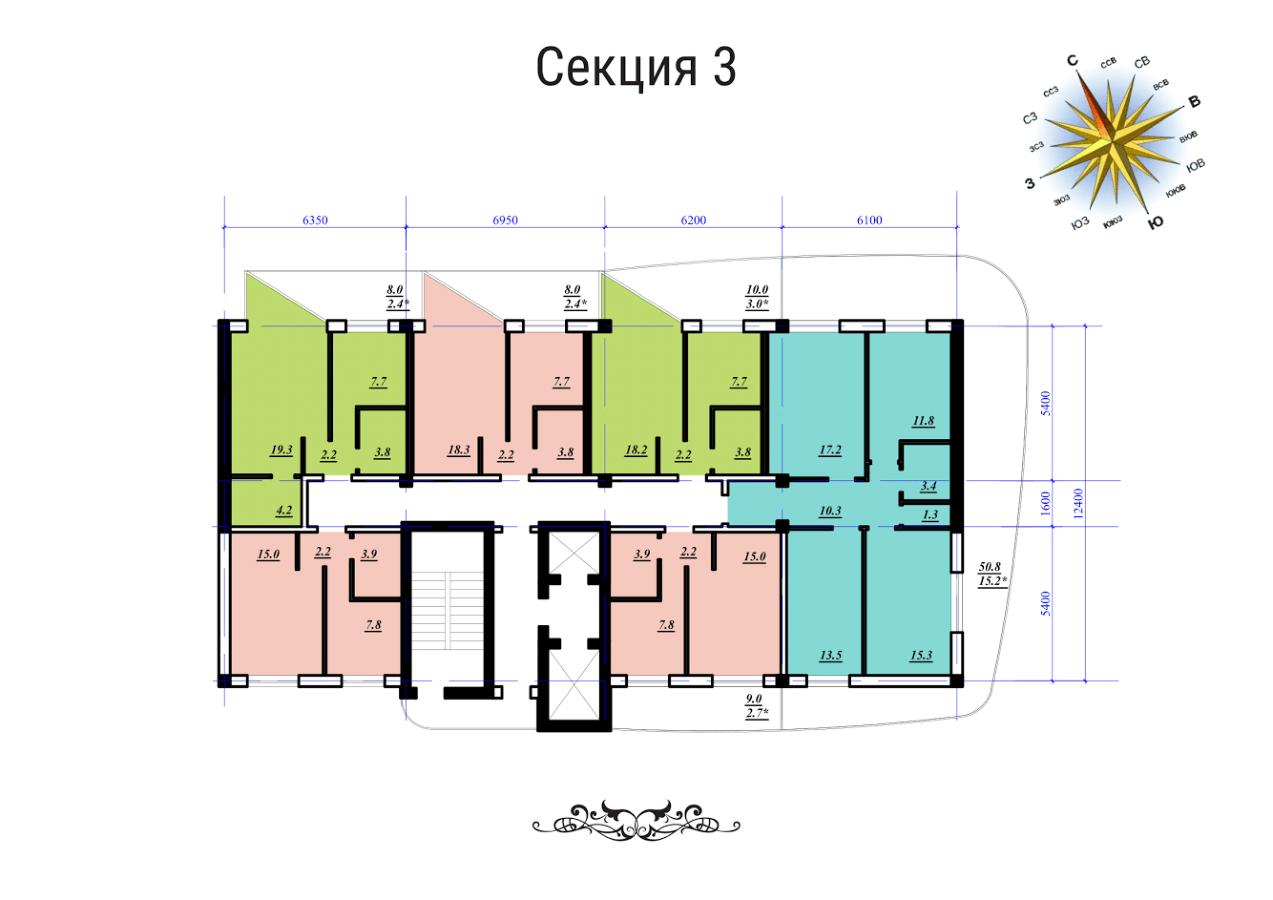 ЖК Сады Семирамиды СК Фамильный дом Секция 3 План типового этажа