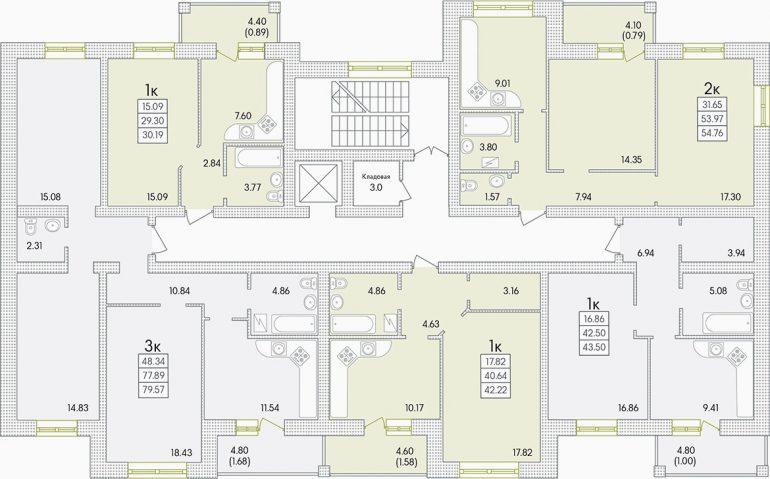 ЖК Парк Совиньон Секция 1 Планировка типового этажа